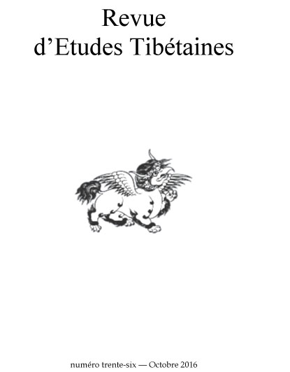 Revue d'Etudes Tibétaines, Number 36, October 2016