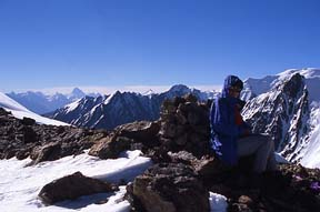 Kimberley O'Neil on Dilisang Pass (5290 metres) on the Afghanistan-Pakistan border, view south into Pakistan towards Misgar, August 6, 2004