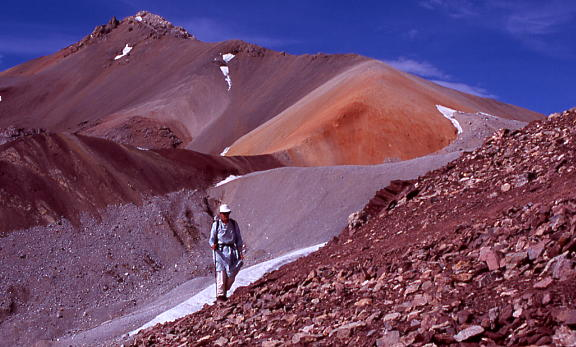 2005 Kimberley O'Neil approaching Irshad Uween (4979m), the pass linking Wakhan's Little Pamir from Bai Qara Valley to Pakistan's Chapursan Valley