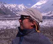 John Mock at Rakaposhi Base Camp along the Minapin Glacier, Minapin, Nagyr, Northern Pakistan