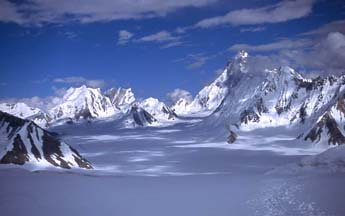 Lukpe Lawo or Snow Lake, one of the world's largest glacial basins seen from Hispar La, Baltistan, Northern Pakistan