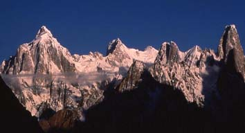 1995 Paiju Peak (6610 metres) and Uli Biaho (6417 metres) from Baltoro Glacier, Baltistan, Northern Pakistan