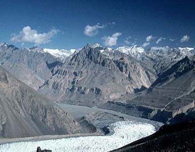 Yazghil Glacier and Shimshal Valley, seen from Yazghil pastures